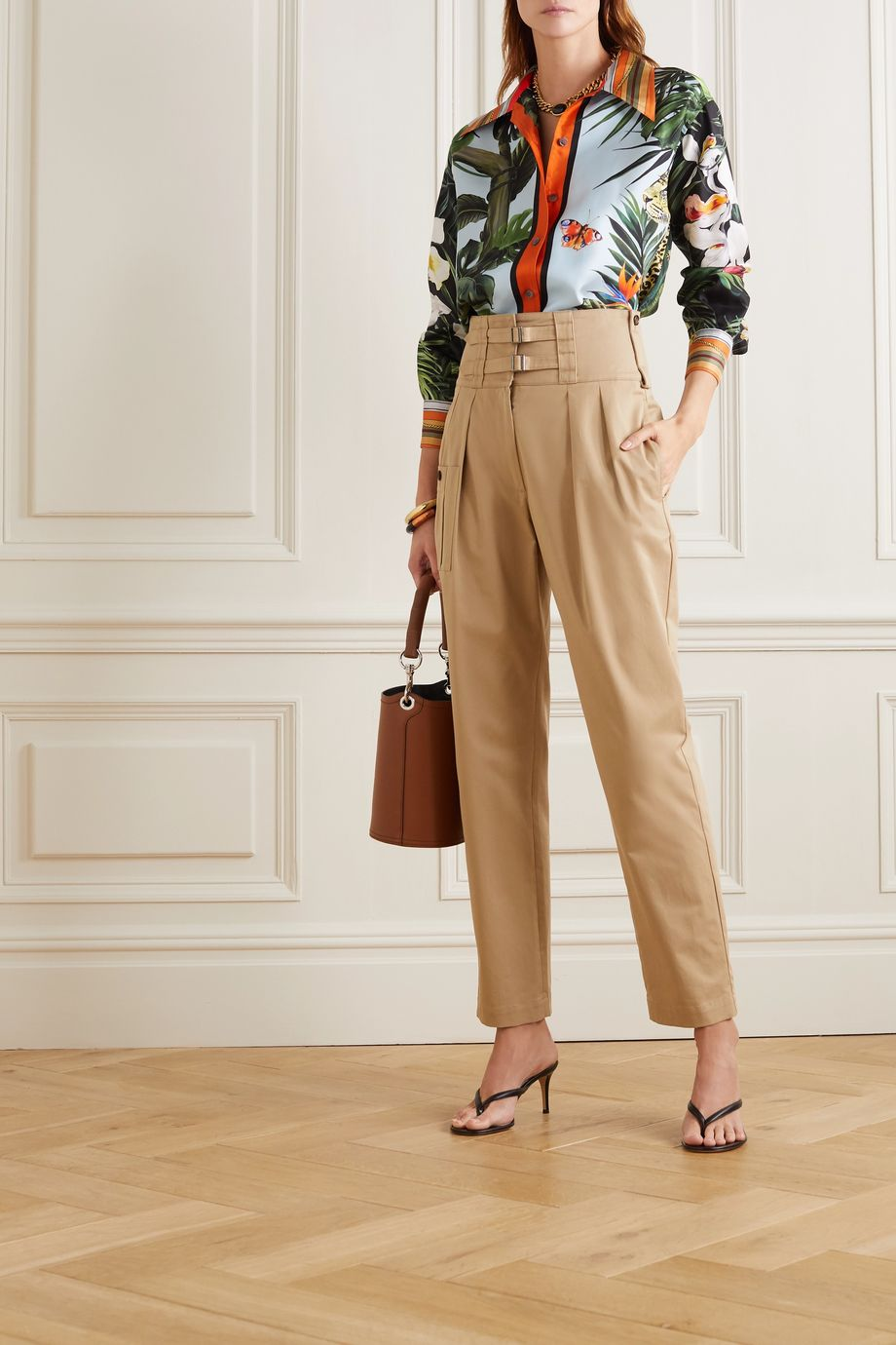 Dolce & Gabbana Oversized printed silk-blend twill blouse
