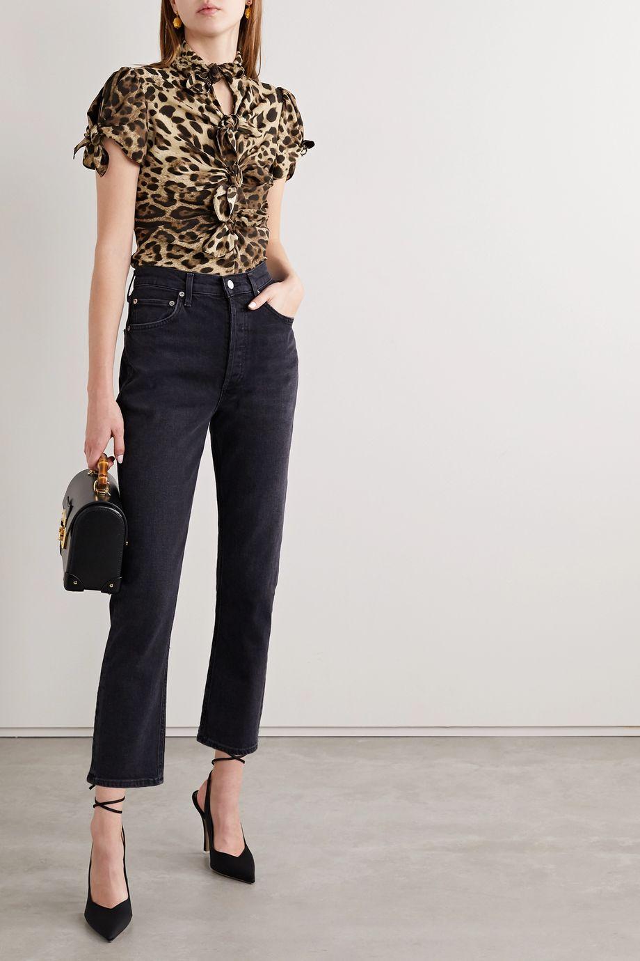 Dolce & Gabbana Knotted cutout leopard-print stretch-silk crepe de chine blouse