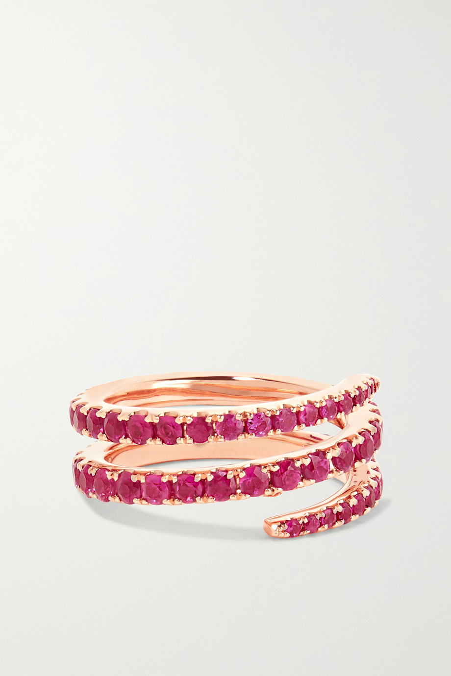 Anita Ko Bague de petit doigt en or rose 18 carats et rubis