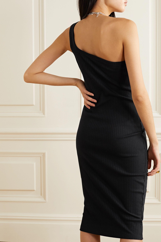 Ninety Percent One-shoulder ribbed stretch-organic cotton midi dress