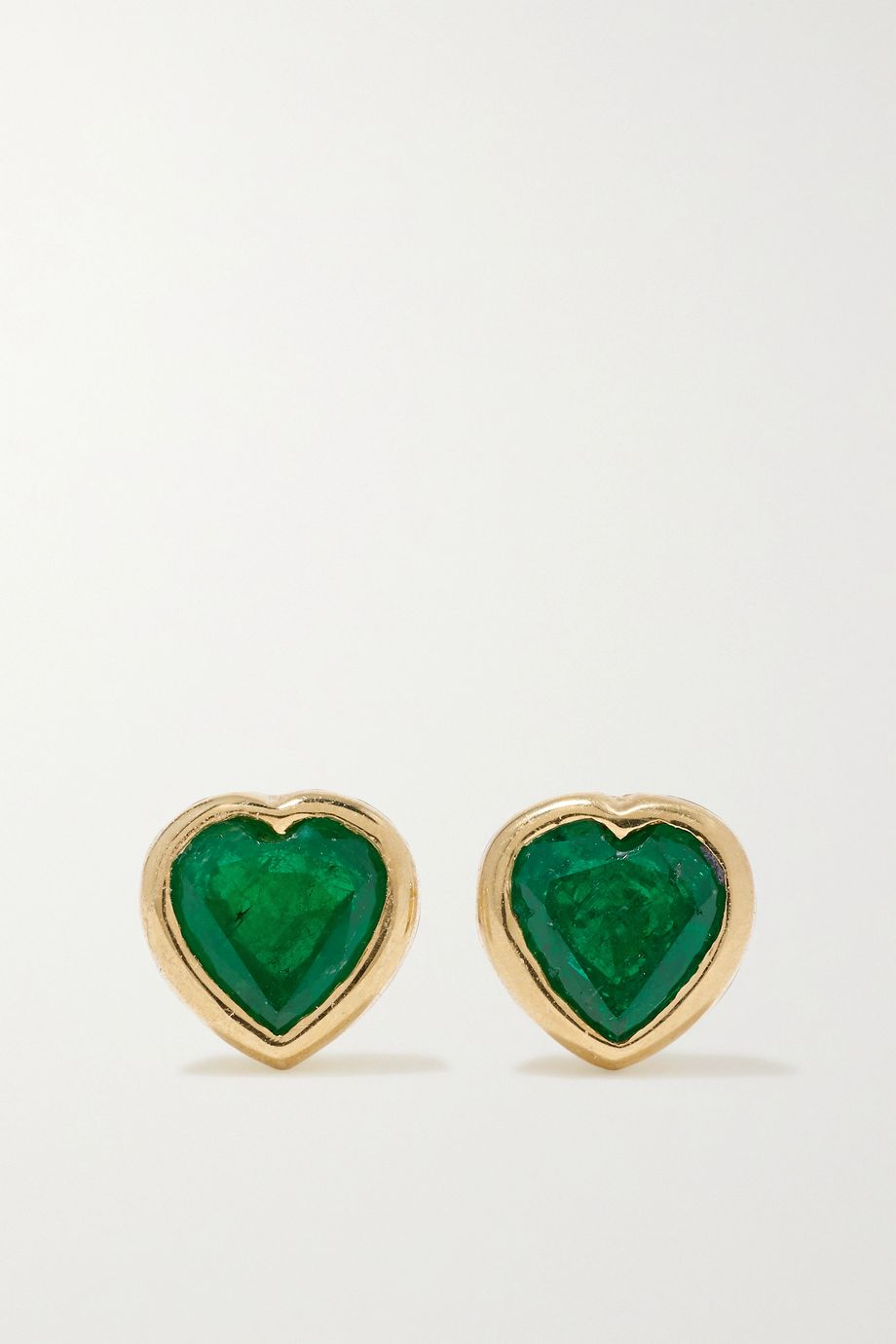 Anita Ko Heart 18-karat gold emerald earrings