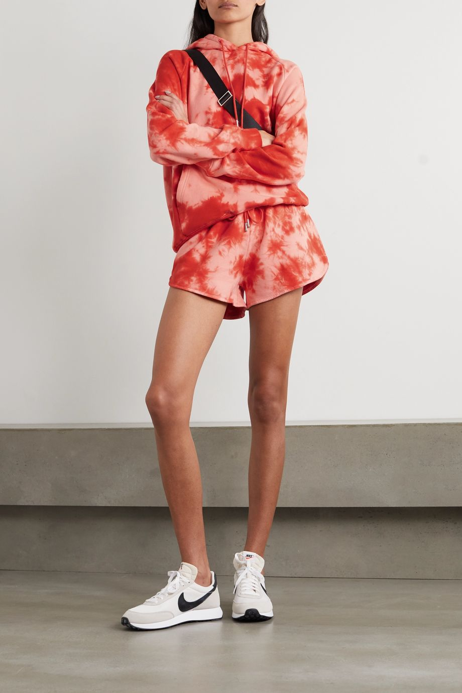 Ninety Percent + NET SUSTAIN tie-dyed organic cotton-jersey shorts
