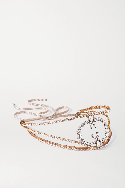 Gucci Grosgrain-trimmed gold-tone crystal headband