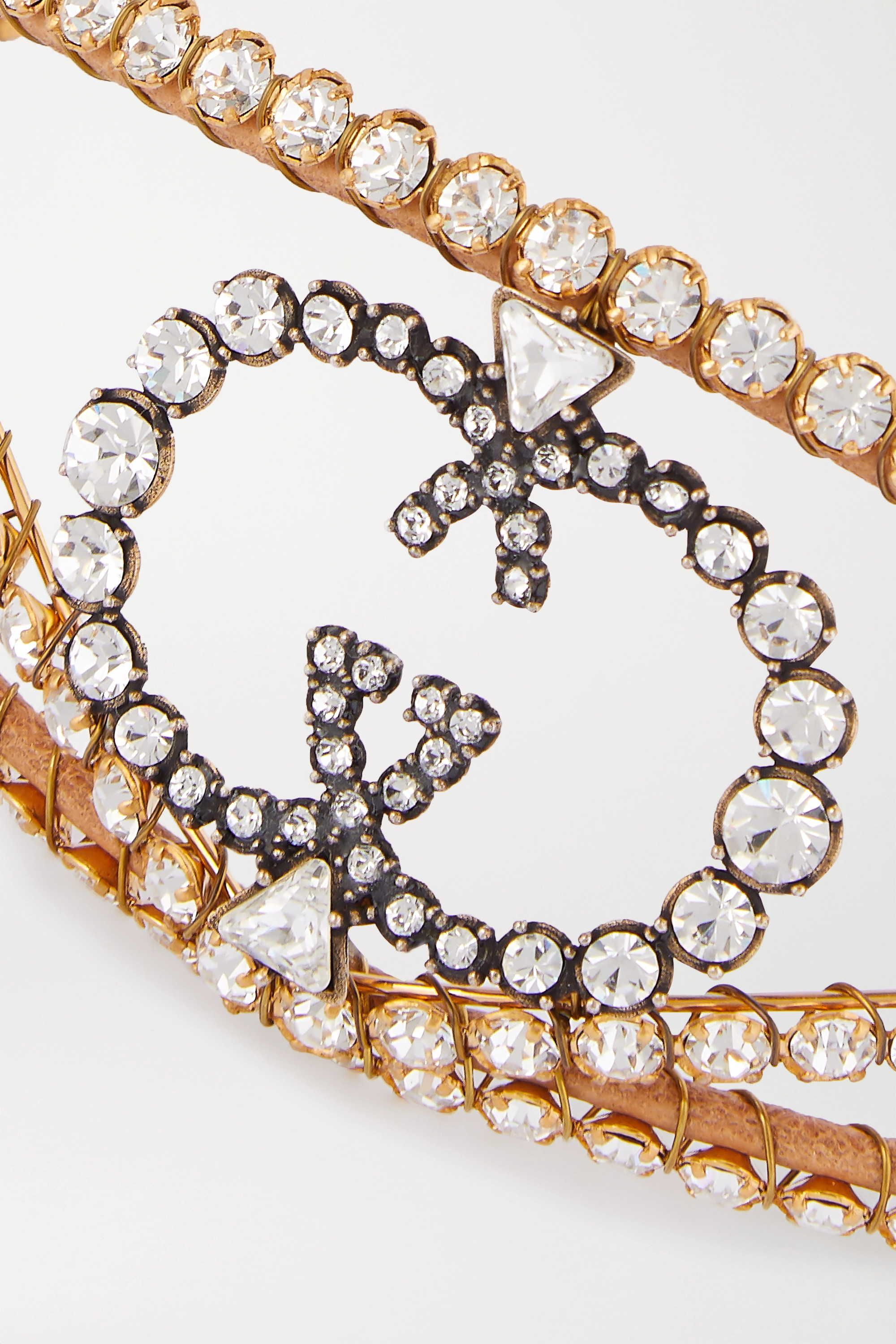 Gucci Gold-tone, leather and crystal choker
