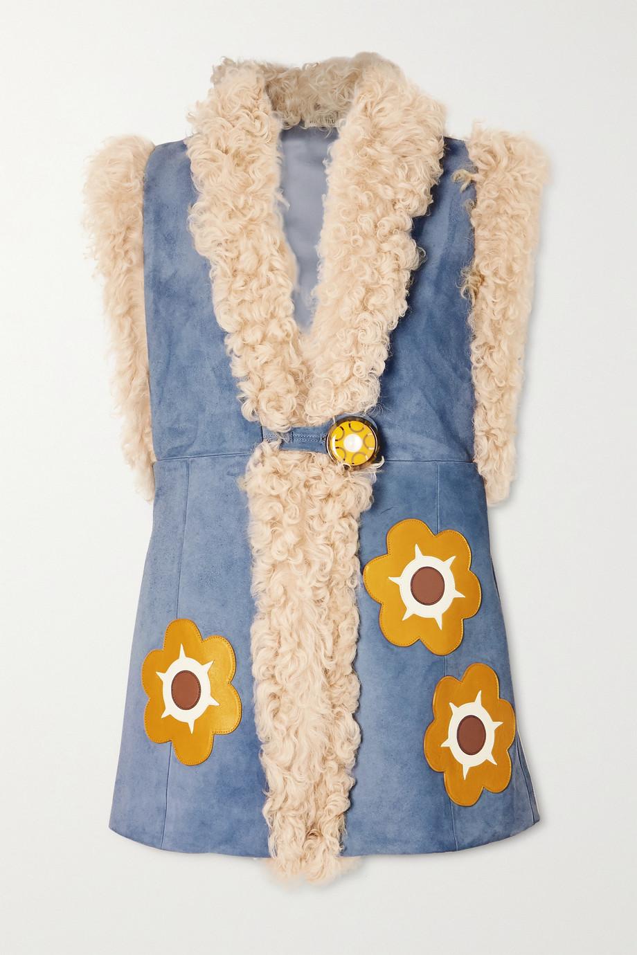 Miu Miu Weste aus Veloursleder mit Shearling-Futter und Applikationen