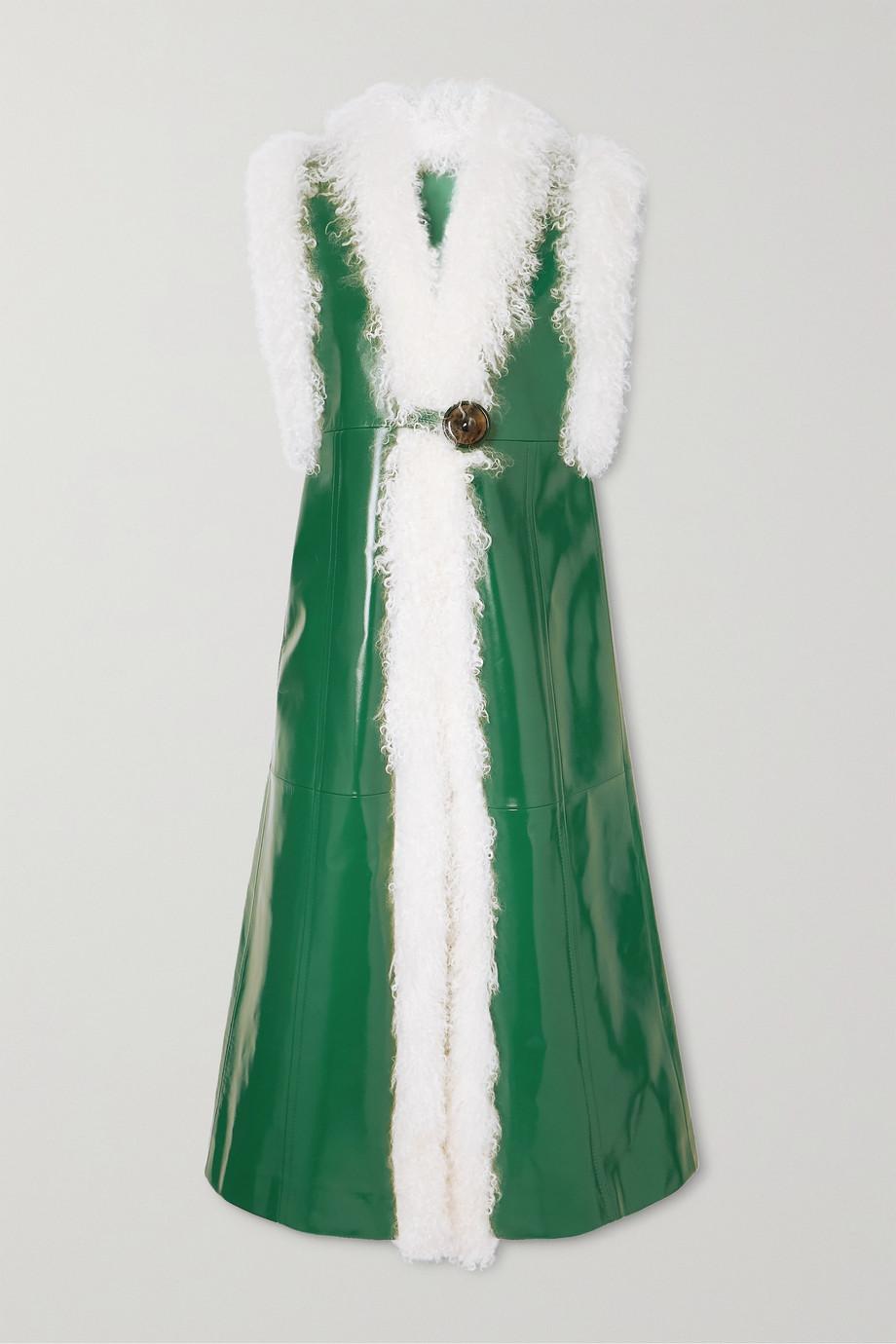 Miu Miu Weste aus Lackleder mit Shearling-Besatz