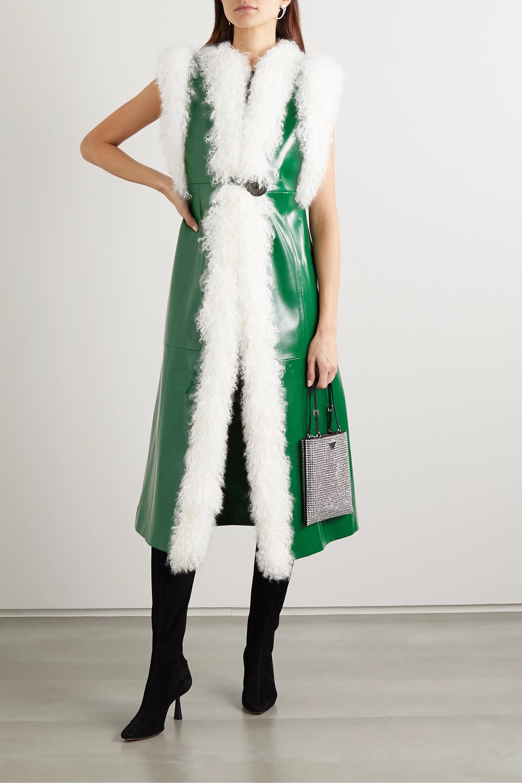 Miu Miu Shearling-trimmed patent-leather vest