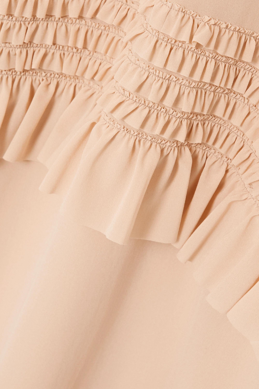 Beige Ruffled Stretch-silk Crepe De Chine Midi Dress | Miu