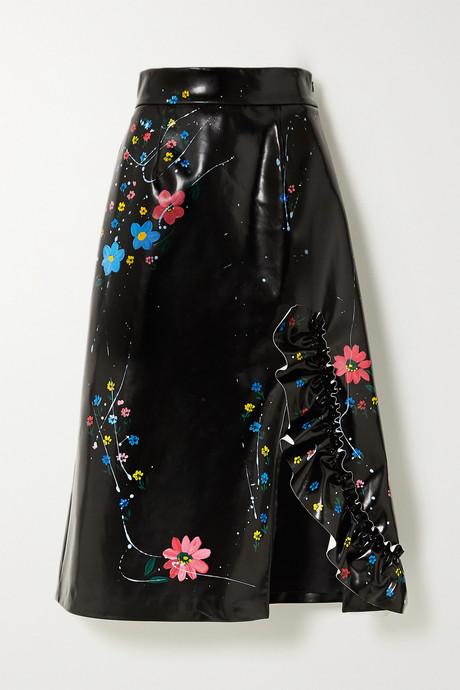 Black Ruffled painted faux patent-leather midi skirt | Miu Miu BiXiFi