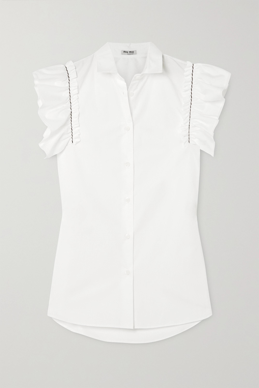 Miu Miu Embroidered ruffled cotton-poplin blouse