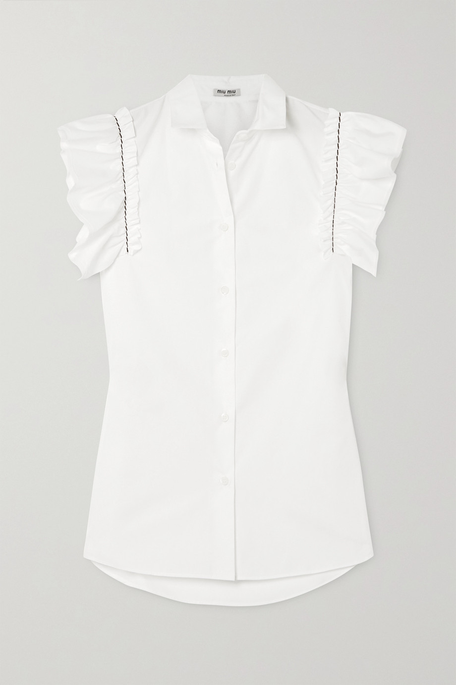 Miu Miu Embroidered ruffled cotton-poplin blouse