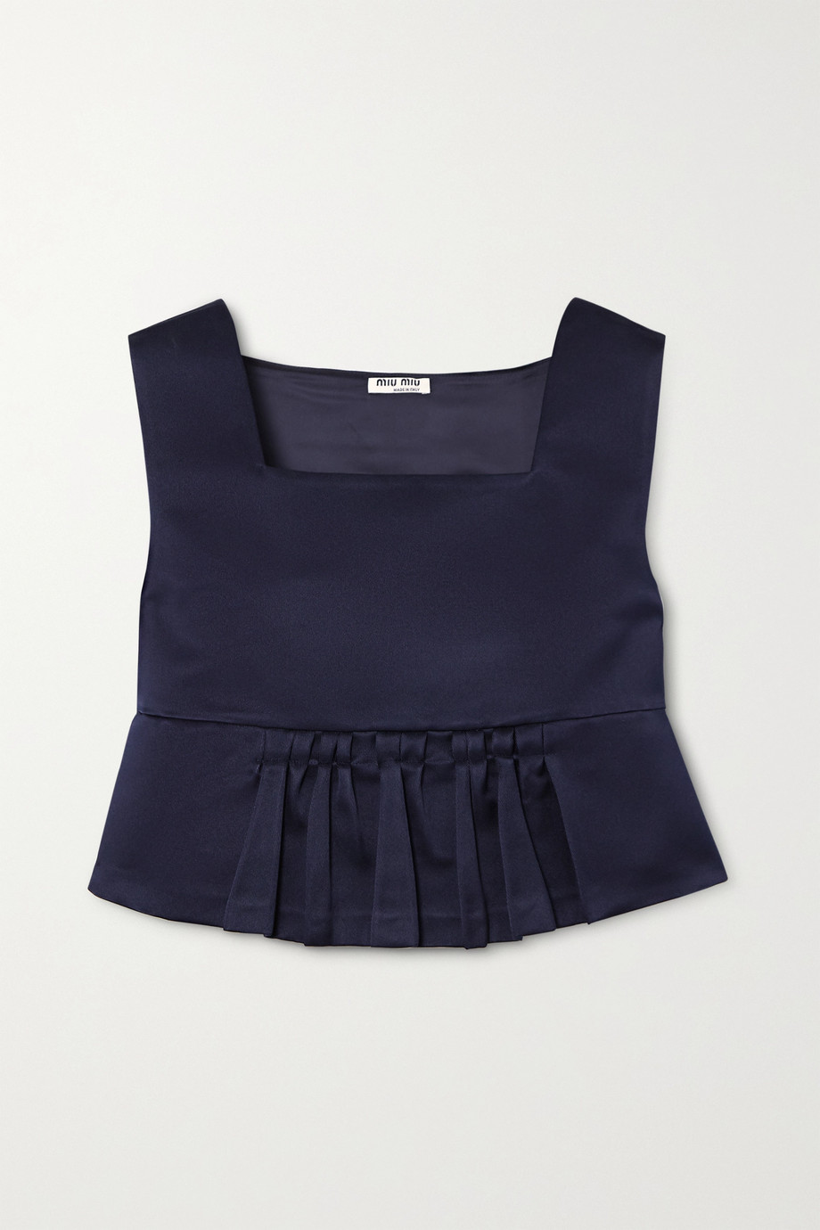 Miu Miu Cropped duchesse silk-satin peplum top