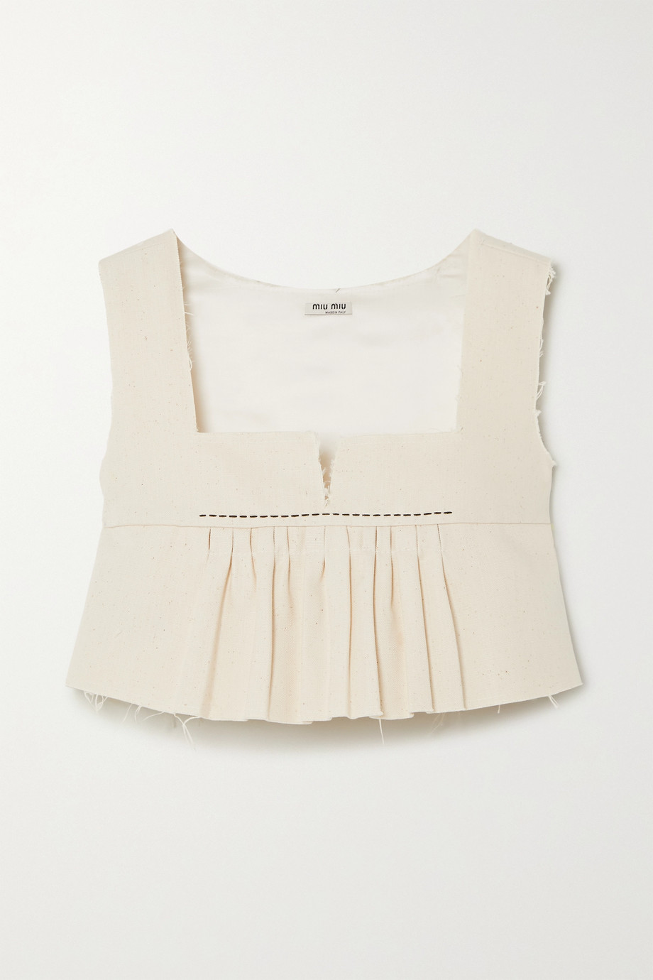 Miu Miu Cropped frayed cotton-canvas peplum top