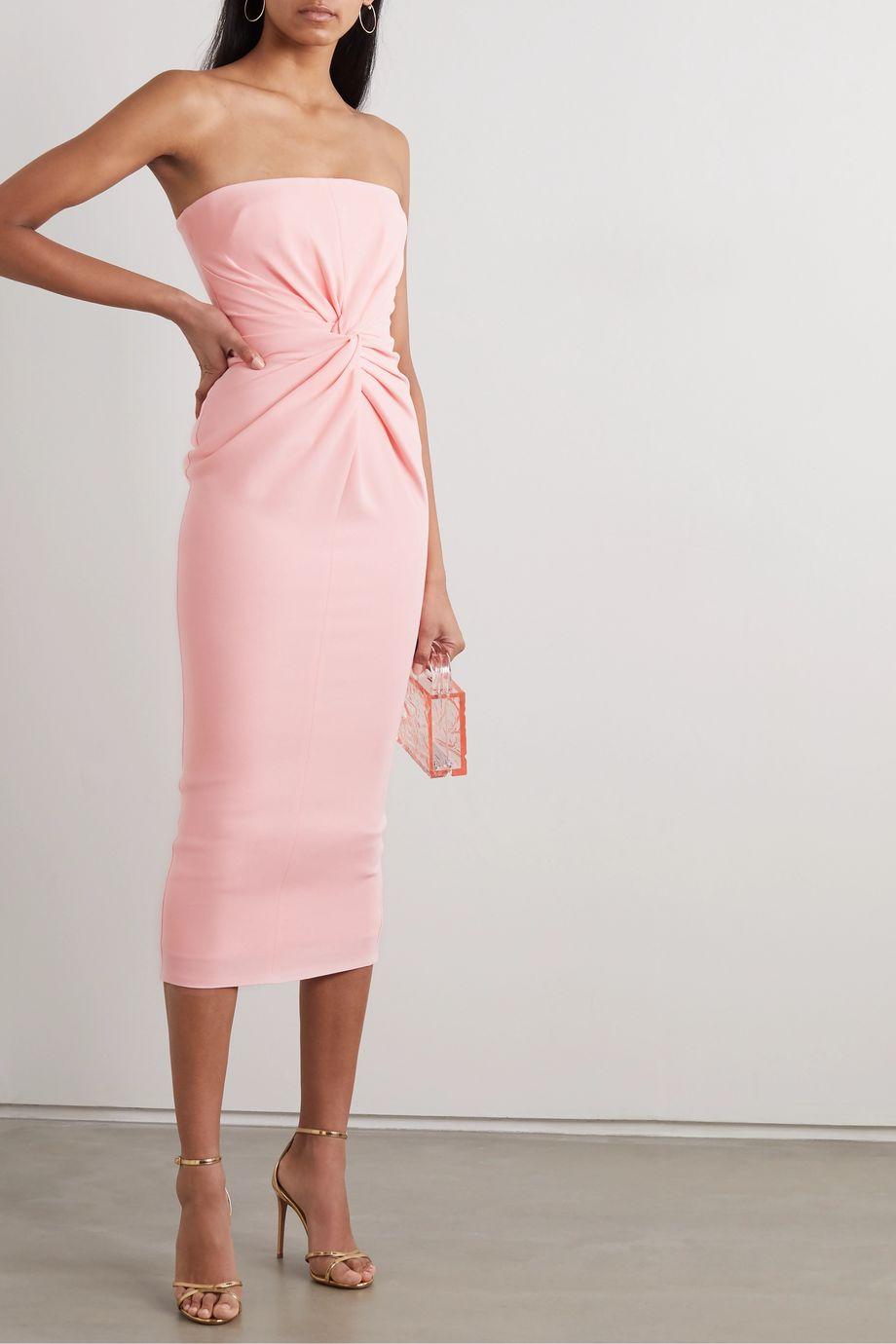 Alex Perry Lindsey strapless gathered crepe midi dress