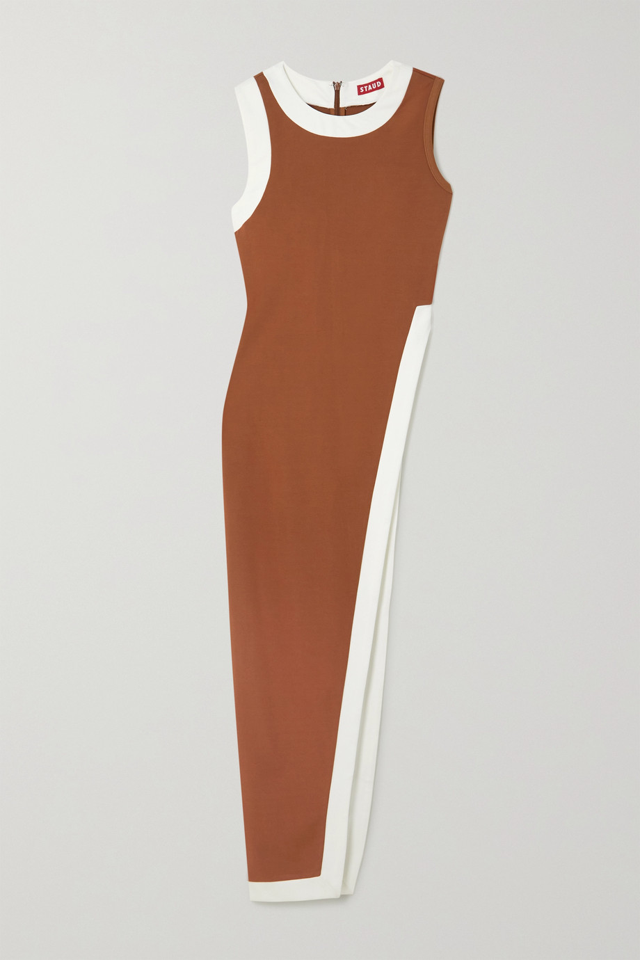 STAUD Asymmetric two-tone stretch-ponte top