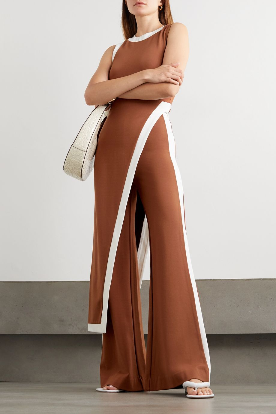 STAUD Milo striped stretch-ponte flared pants
