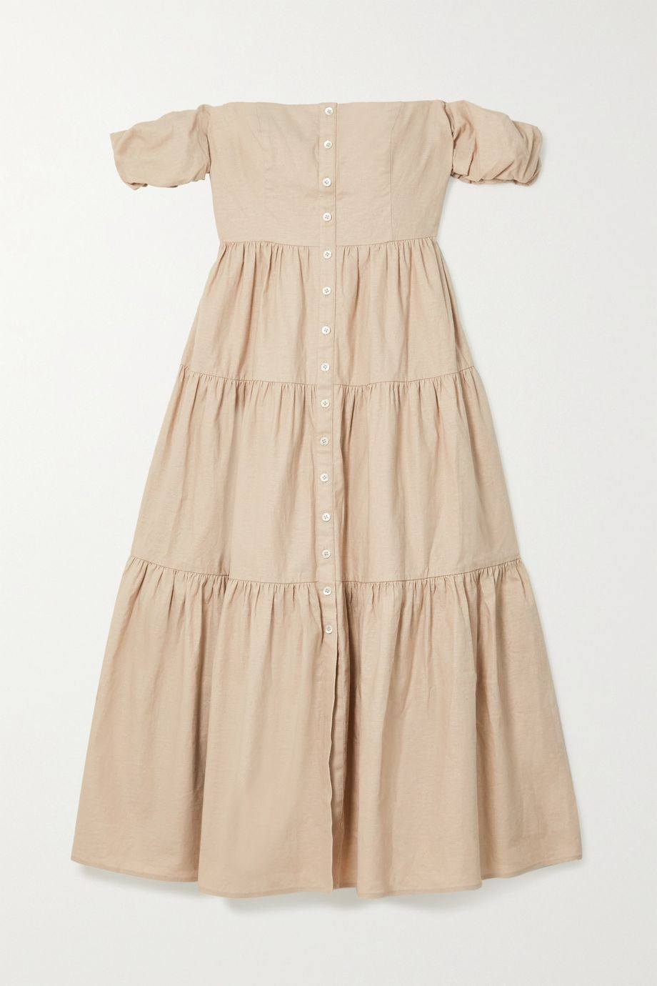 STAUD Elio off-the-shoulder tiered linen-blend midi dress