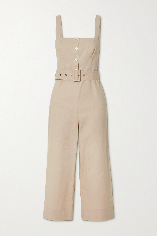 STAUD Bay belted linen-blend jumpsuit