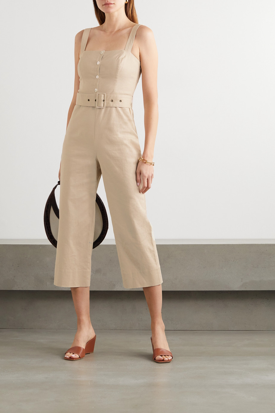 STAUD Bay belted linen-blend jumpsuit