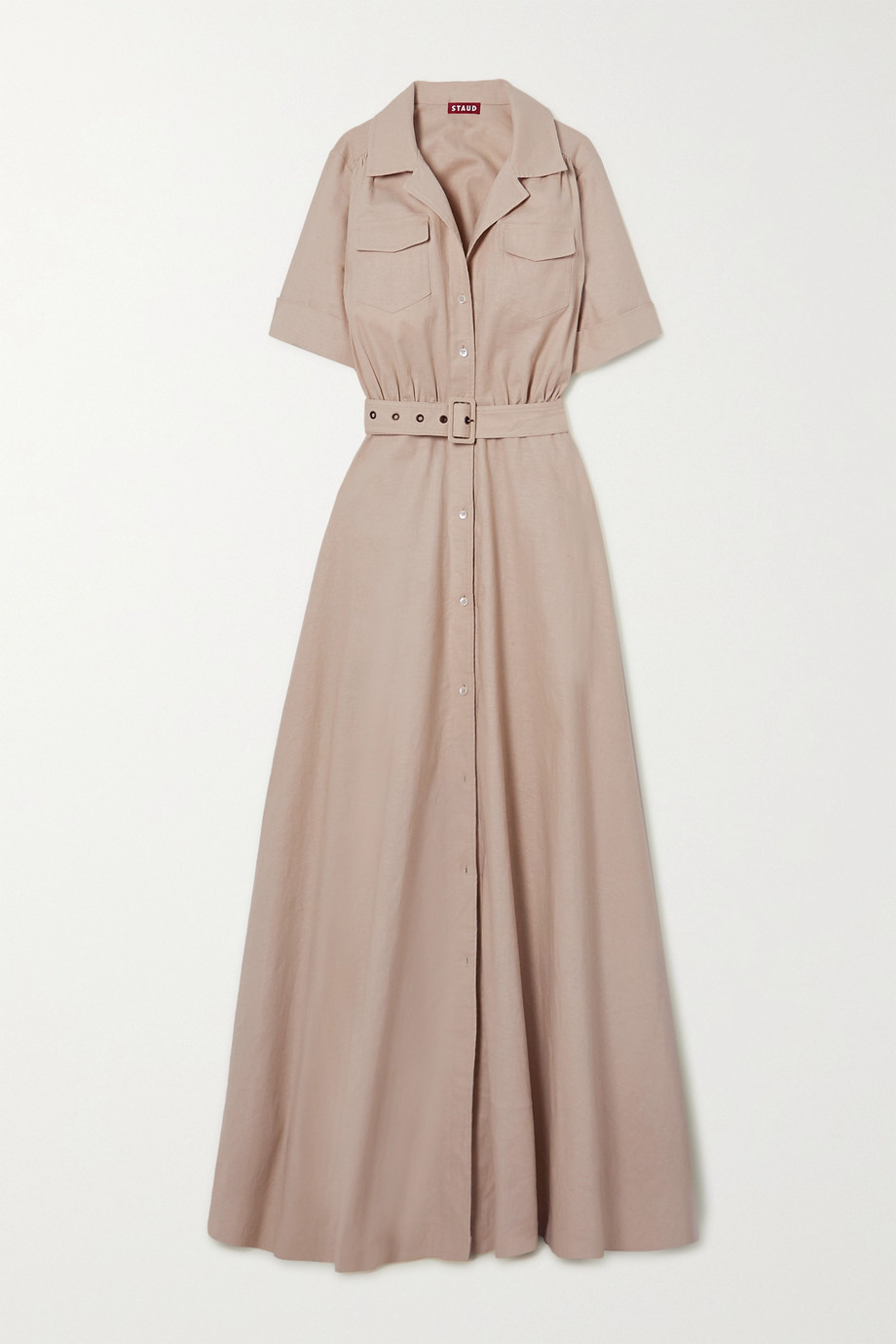 STAUD Millie belted linen-blend maxi shirt dress
