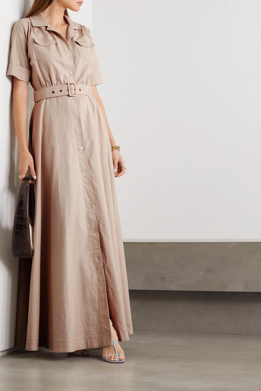 STAUD Millie belted linen-blend maxi shirt dress