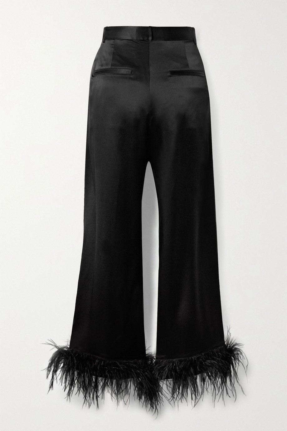 Michael Lo Sordo Cropped feather-trimmed silk-satin wide-leg pants