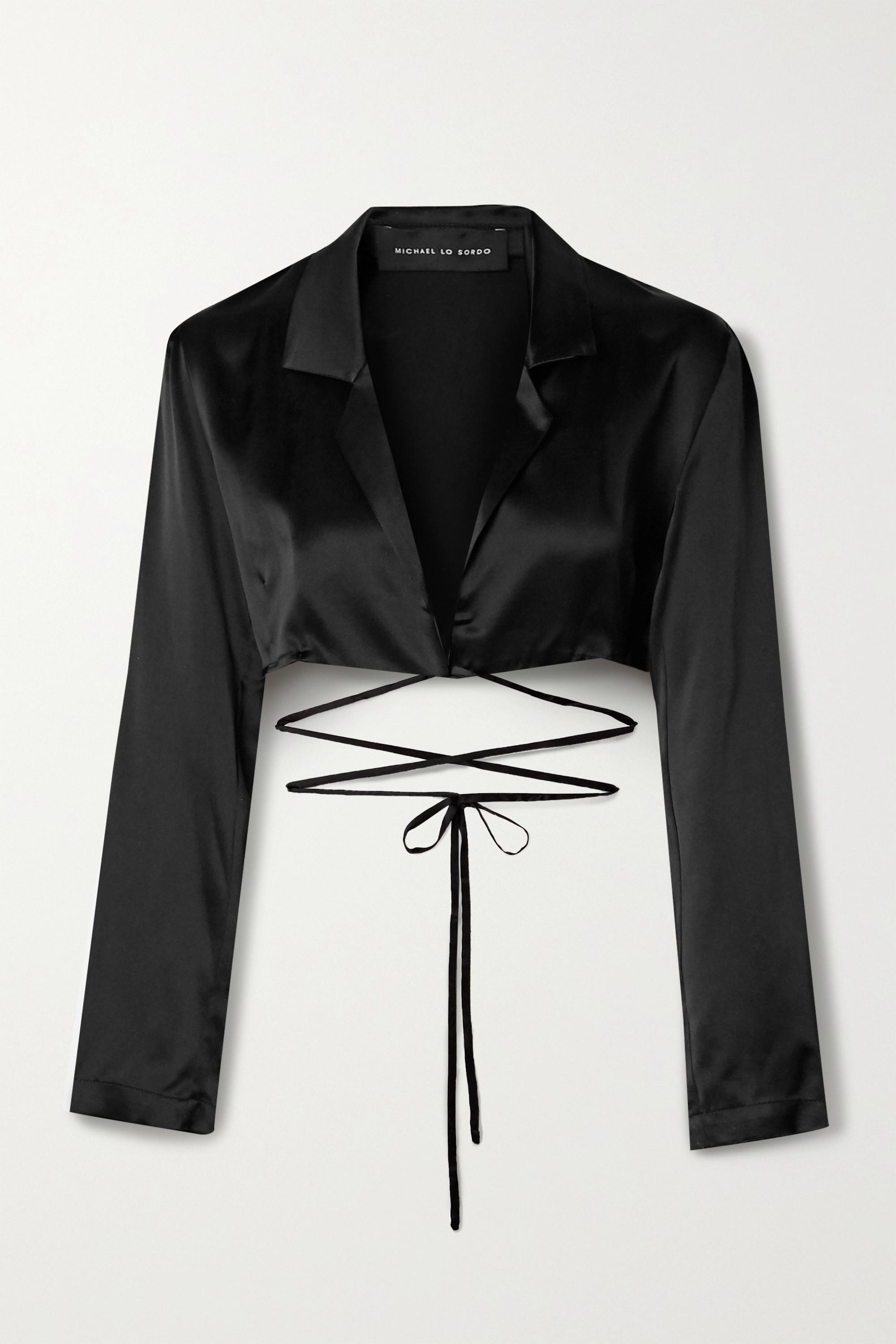 Michael Lo Sordo Cropped silk-satin wrap top