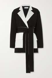 Boy belted two-tone crepe blazer