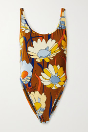 Fendi Reversible printed stretch-chenille swimsuit