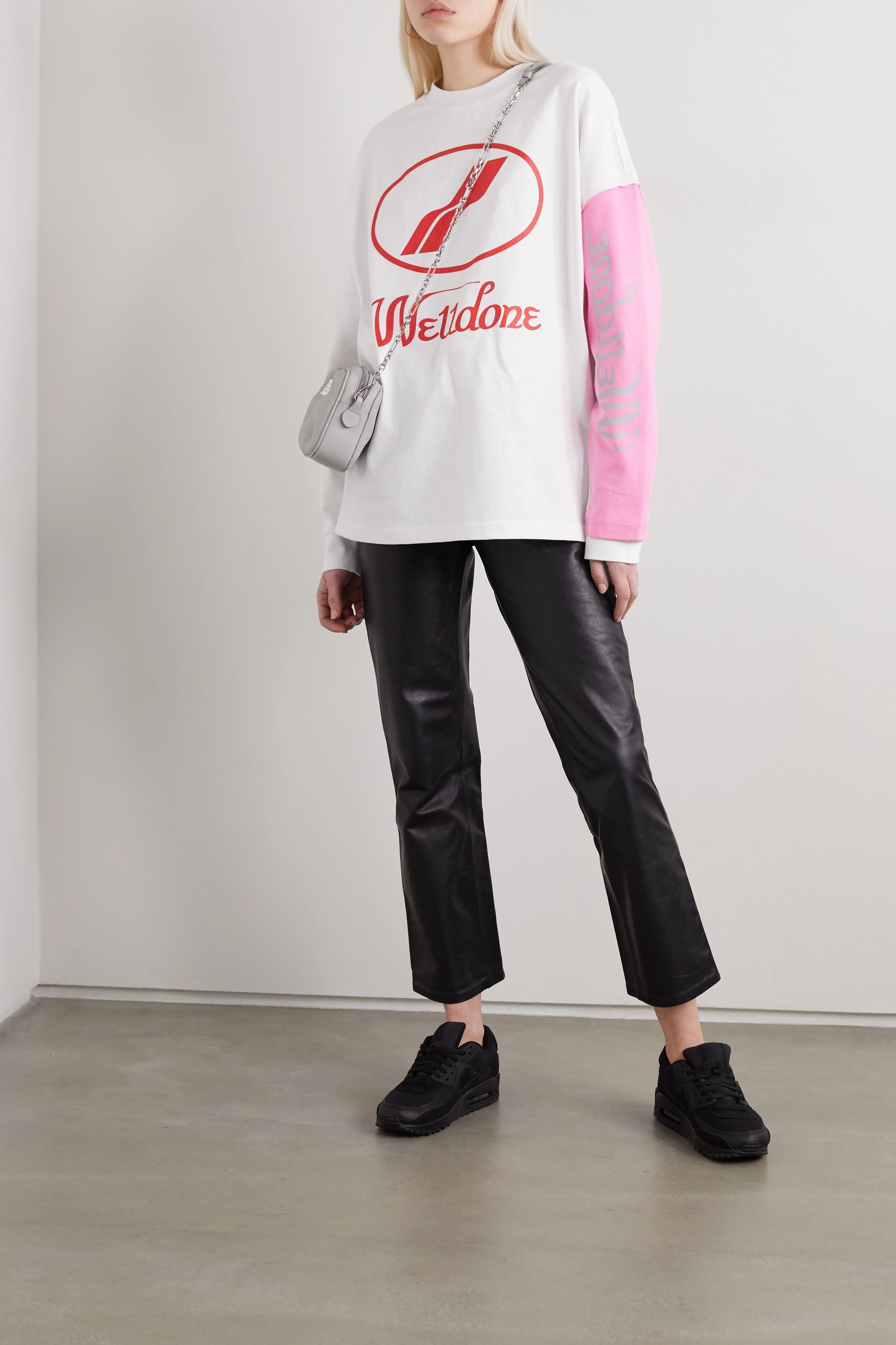 we11done Oversized layered printed cotton-jersey T-shirt