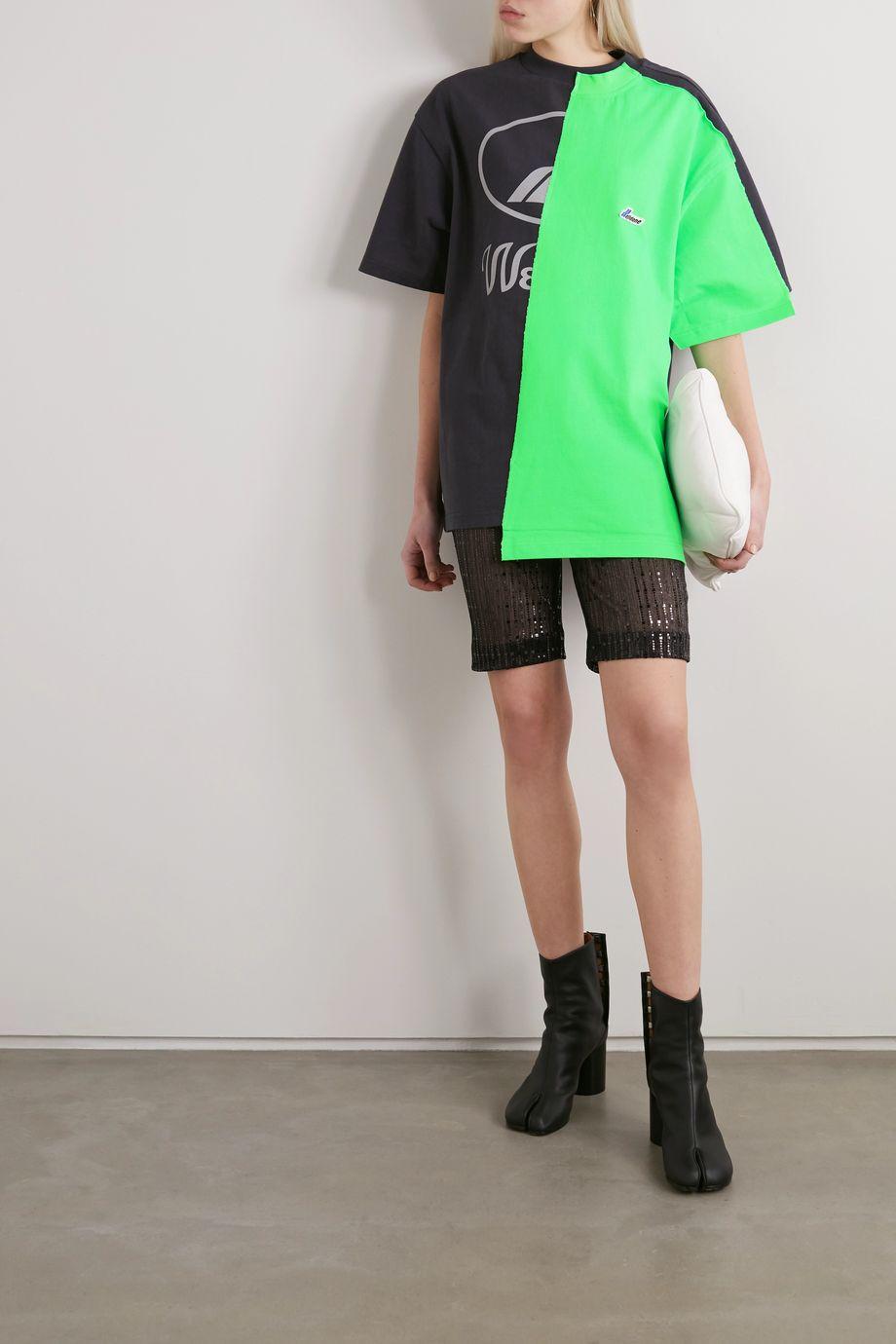 we11done Oversized asymmetric paneled printed cotton-jersey T-shirt
