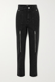 Zip-embellished high-rise tapered jeans