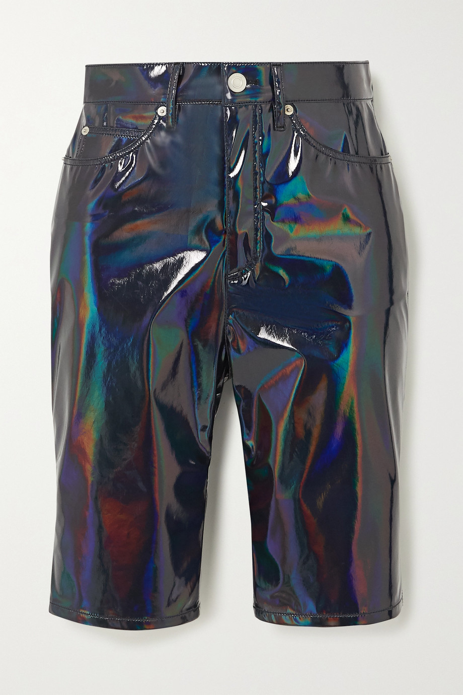 we11done Iridescent faux patent-leather shorts