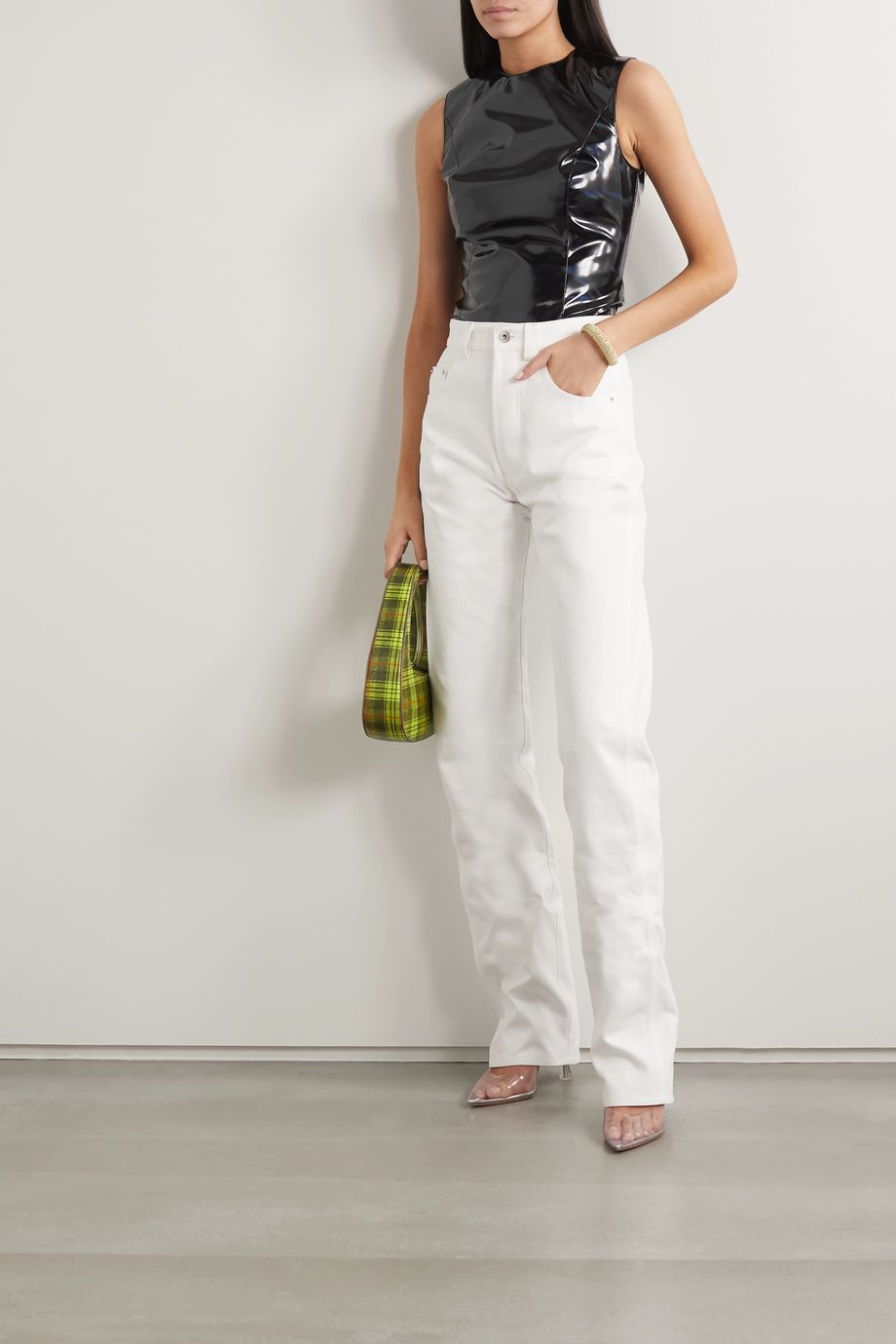 we11done Iridescent faux patent-leather tank