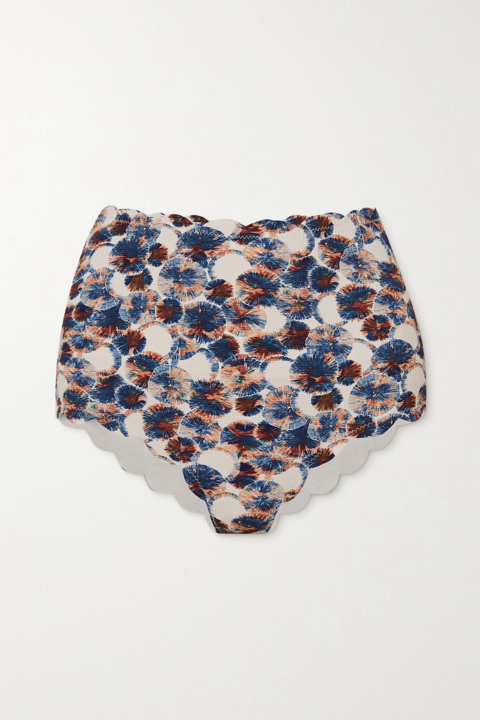 Marysia Santa Monica scalloped printed bikini briefs