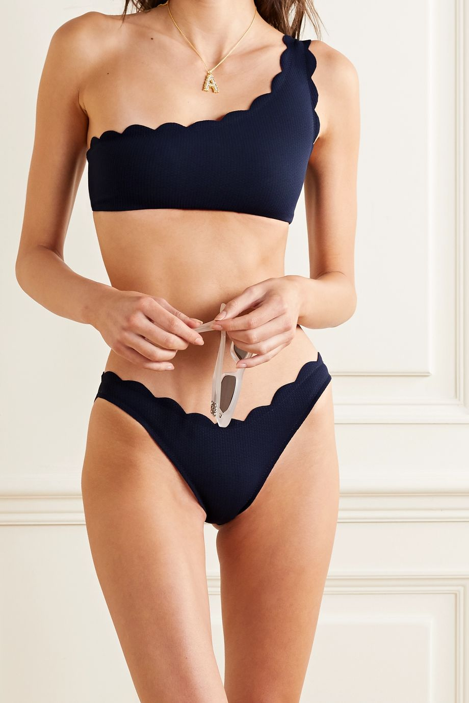 Marysia Santa Barbara one-shoulder scalloped stretch-crepe bikini top
