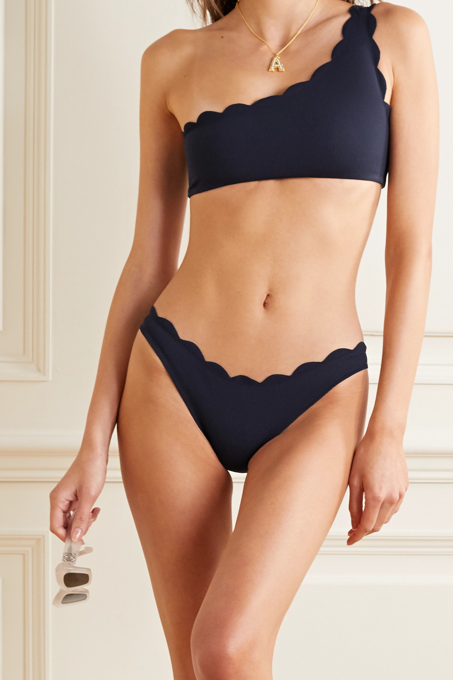 Marysia Santa Barbara scalloped stretch-crepe bikini briefs