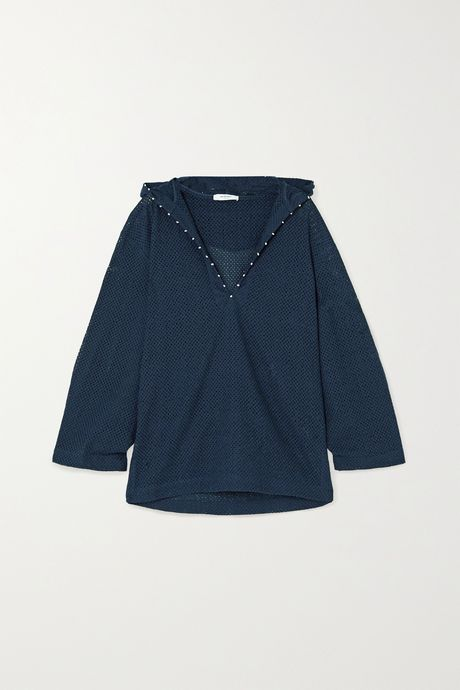 Indigo Picot-trimmed hooded cotton-mesh kaftan | Marysia OrNKTQ
