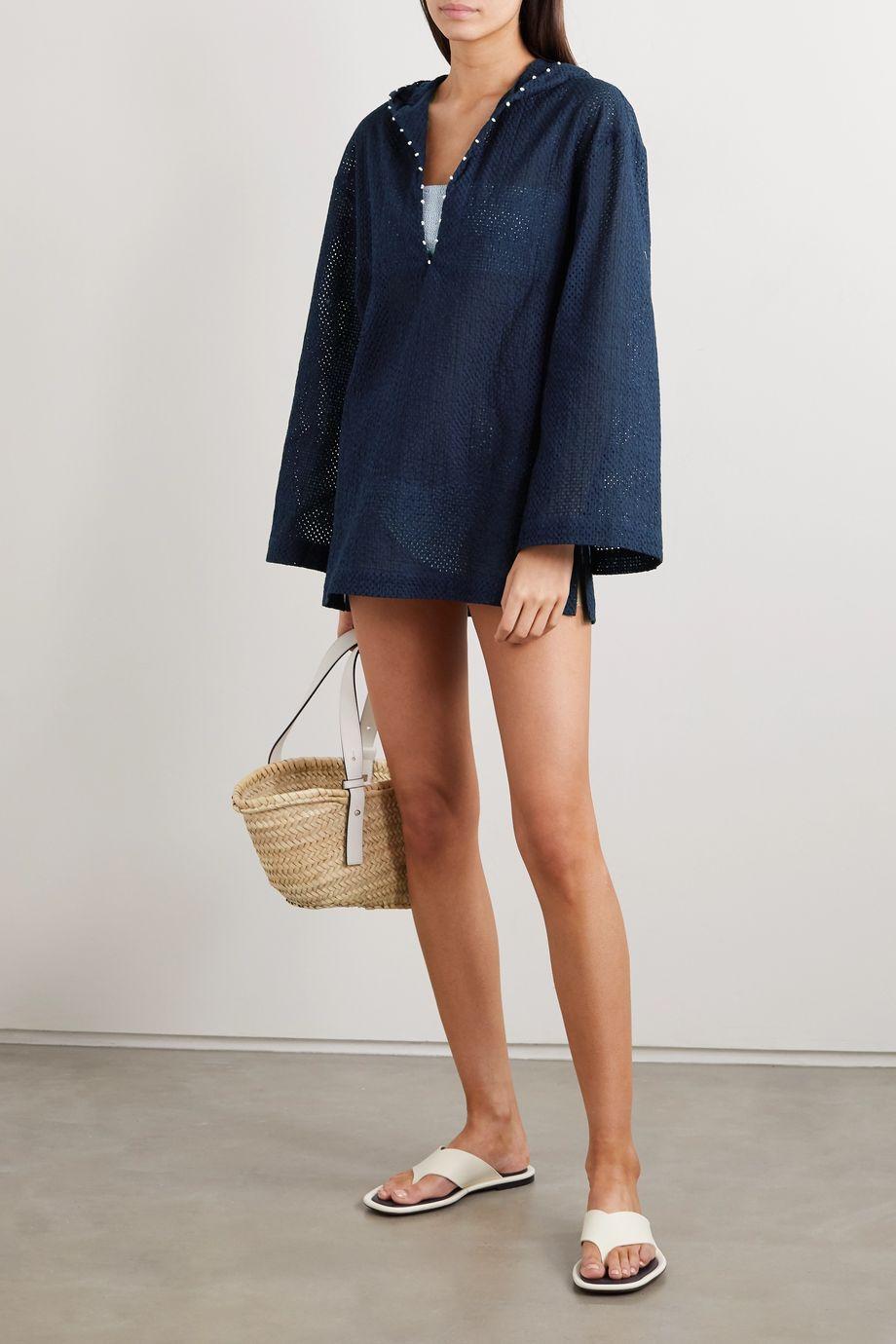Marysia Picot-trimmed hooded cotton-mesh kaftan