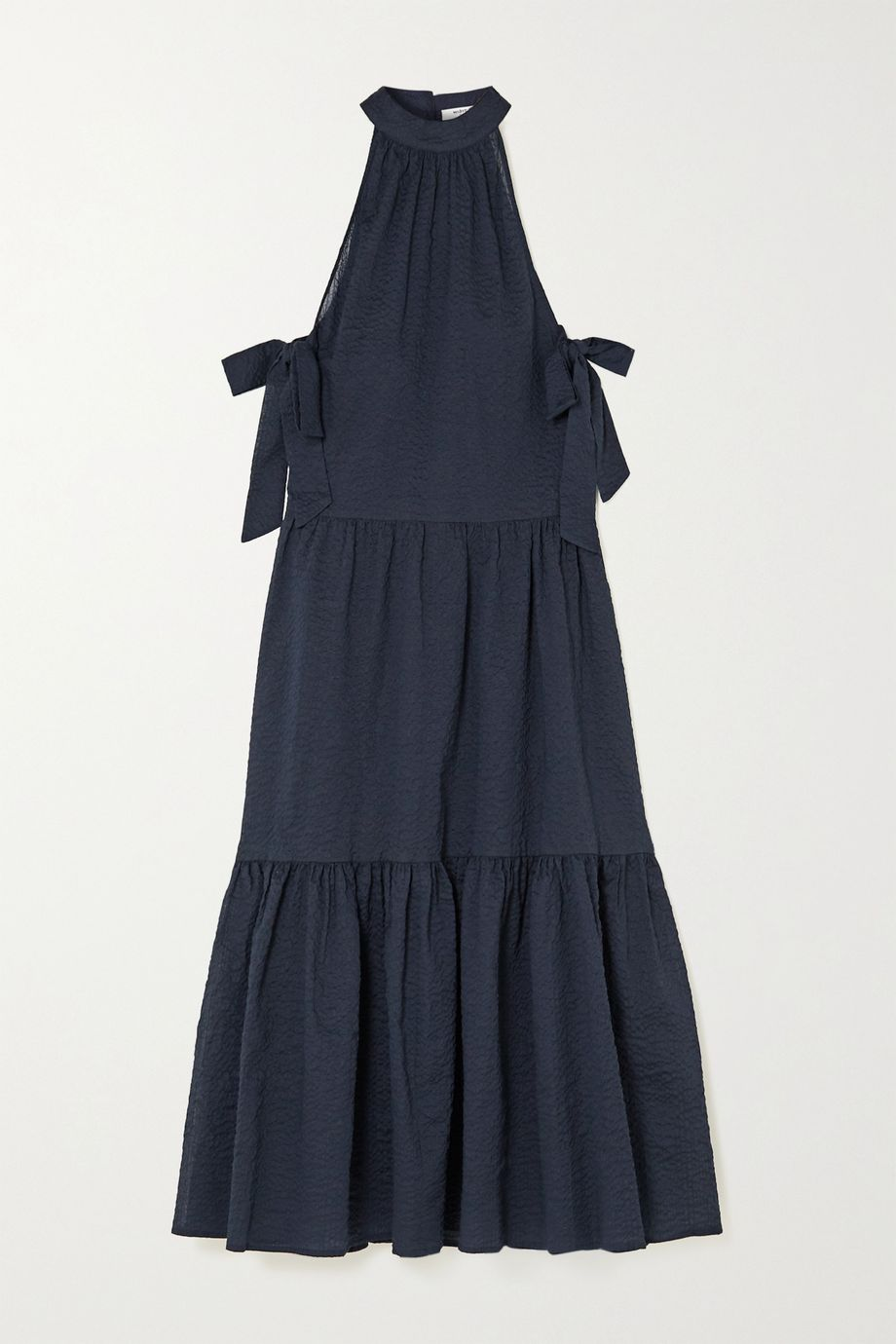 Marysia Molluscs tiered crinkled cotton-gauze midi dress