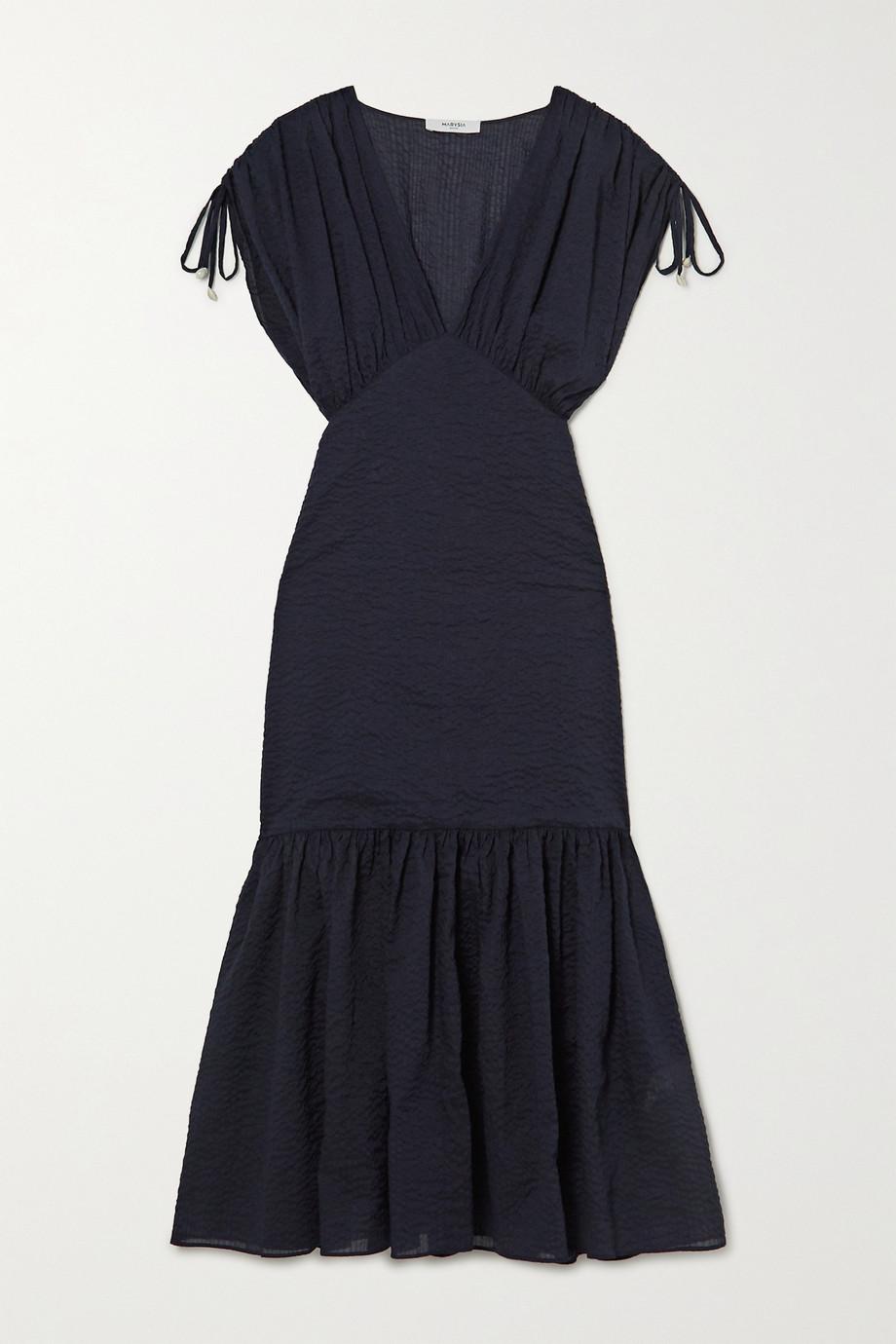 Marysia Monterey gathered cotton-seersucker midi dress
