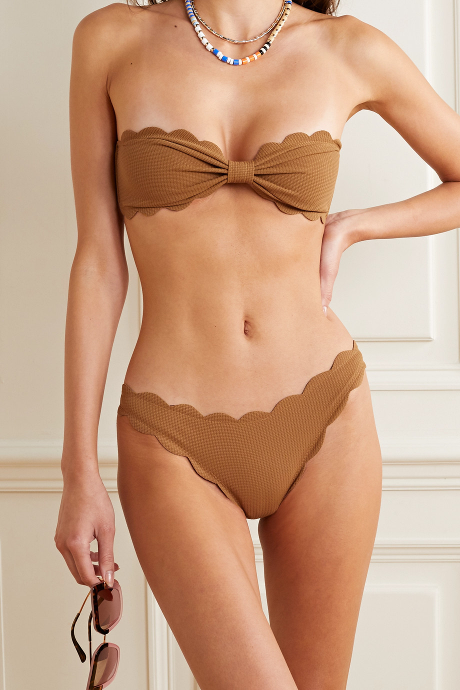 Marysia Antibes scalloped stretch-crepe bikini briefs