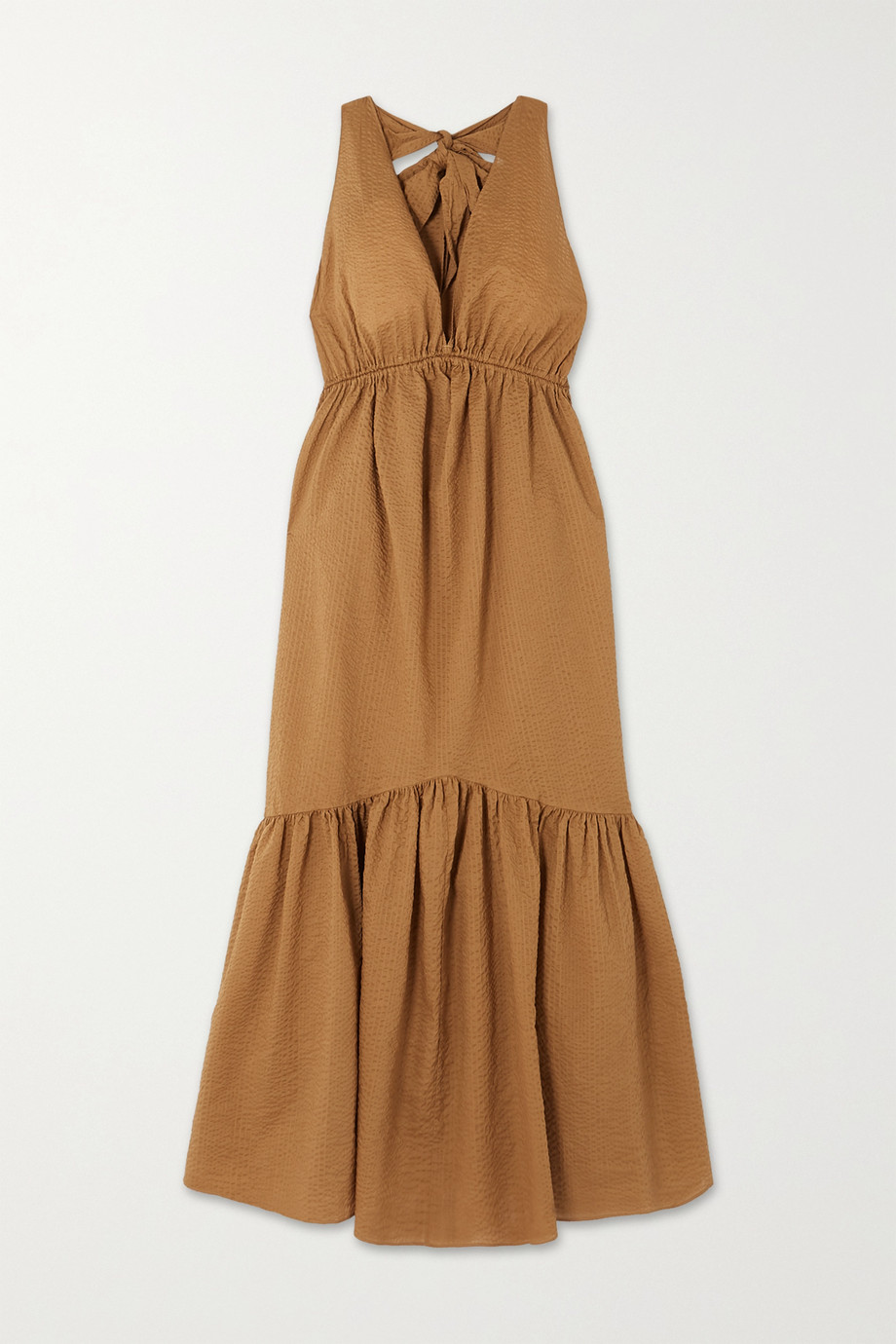 Marysia Seashell cotton-seersucker halterneck midi dress