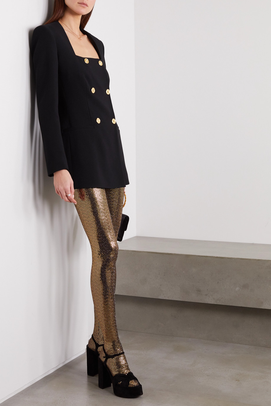 Gucci Lamé-coated metallic tights