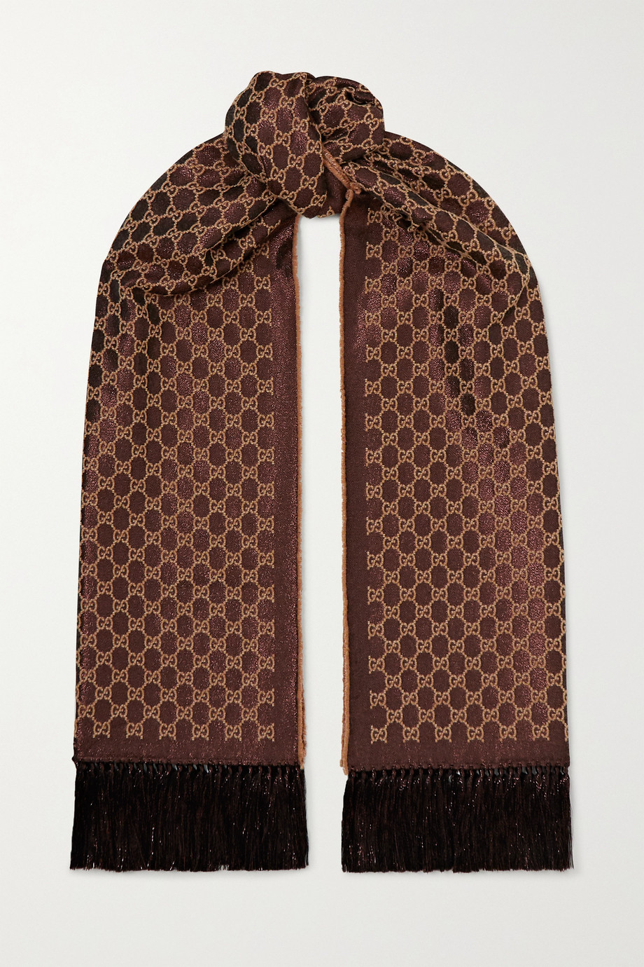 Gucci Fringed metallic wool-blend jacquard scarf
