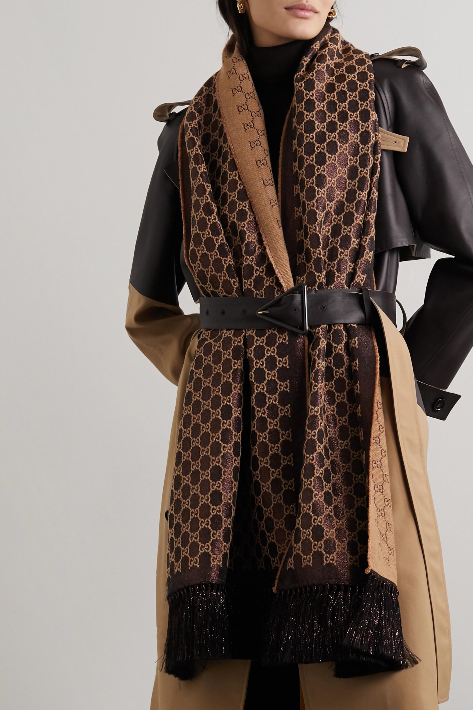Gucci Fringed metallic wool-blend jacquard scarf