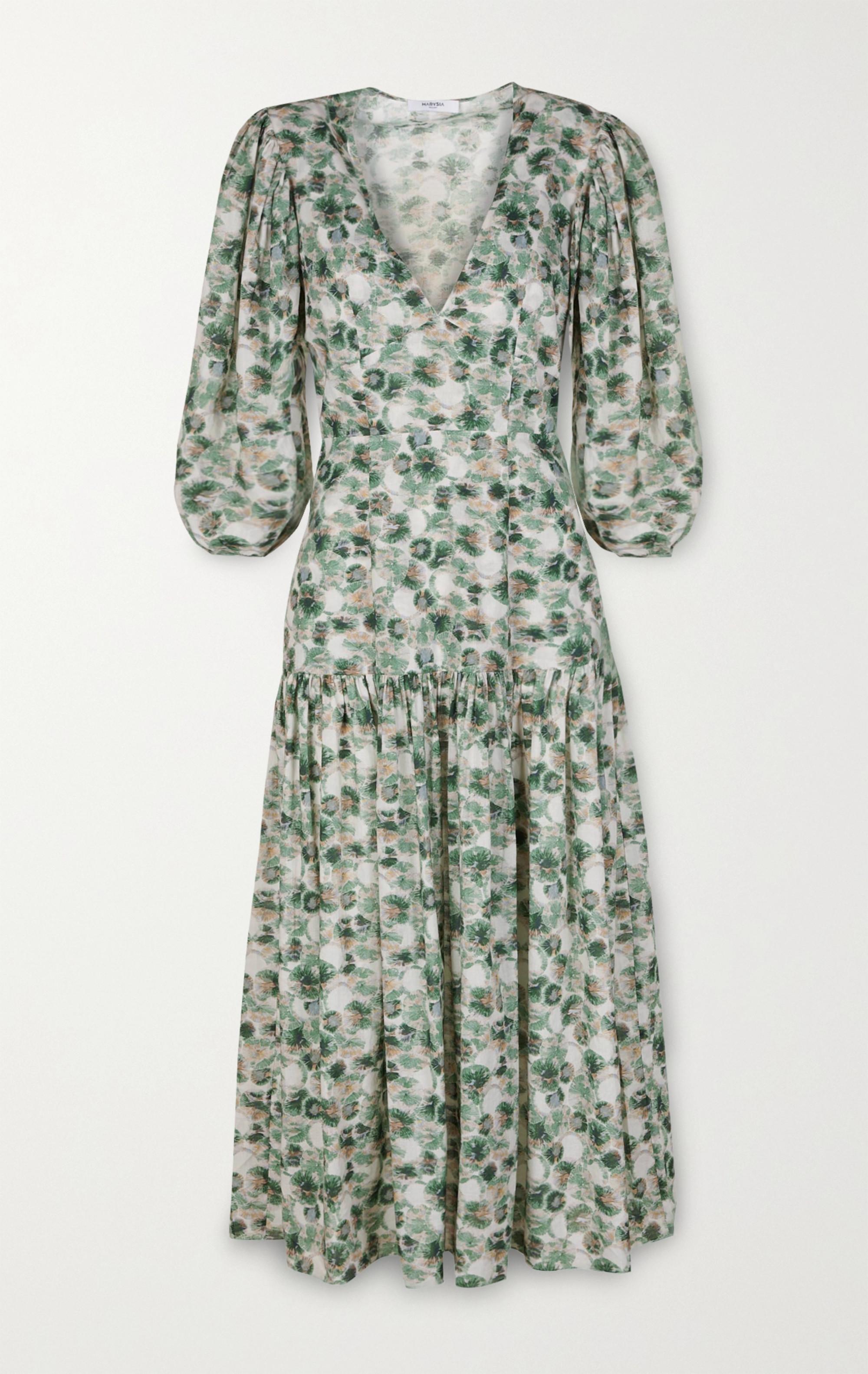 Marysia Imperialis gathered printed cotton midi dress