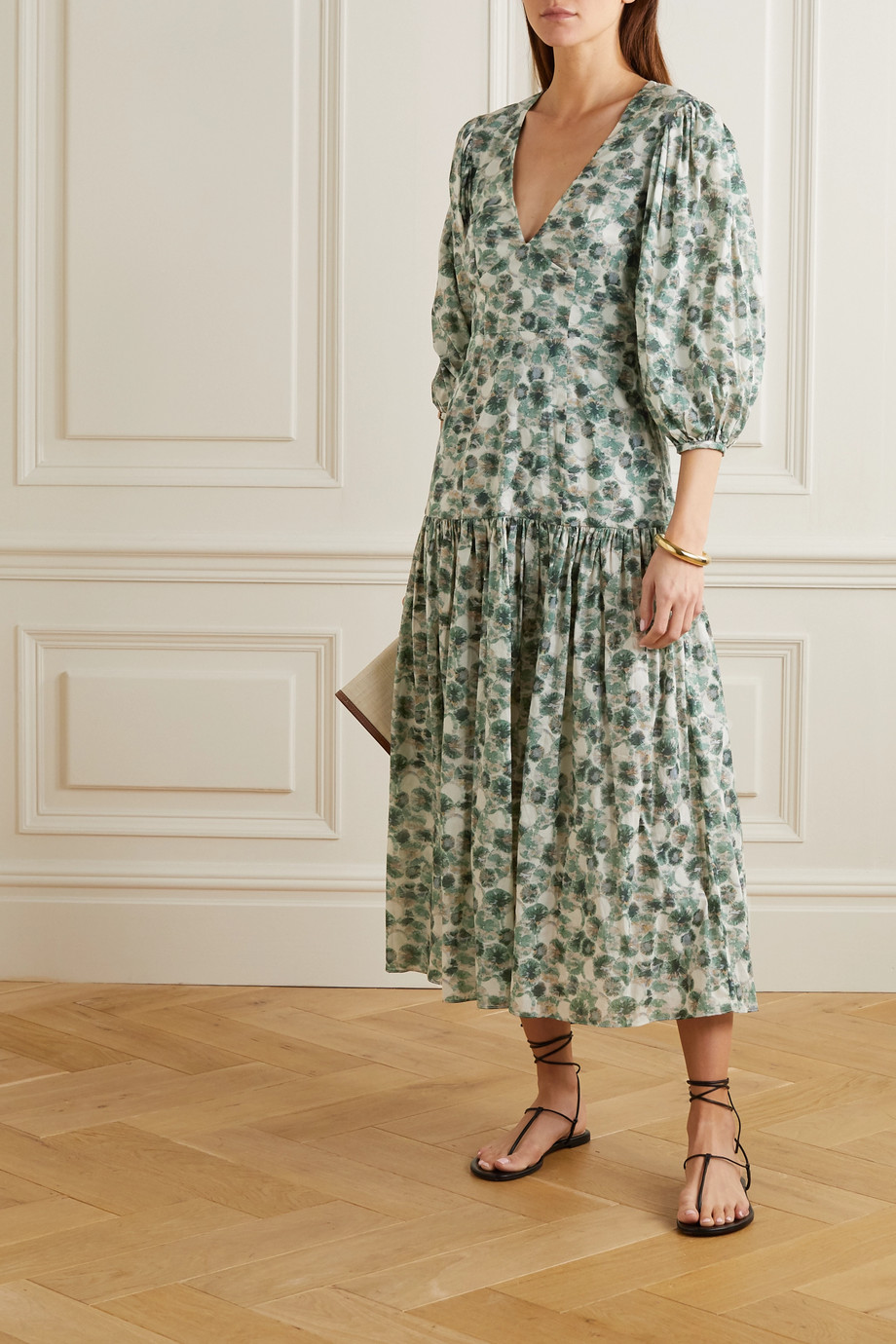Marysia Imperialis gathered printed cotton midi dress