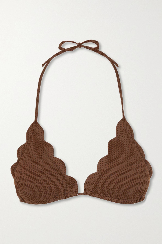 Marysia Broadway scalloped stretch-crepe triangle bikini top