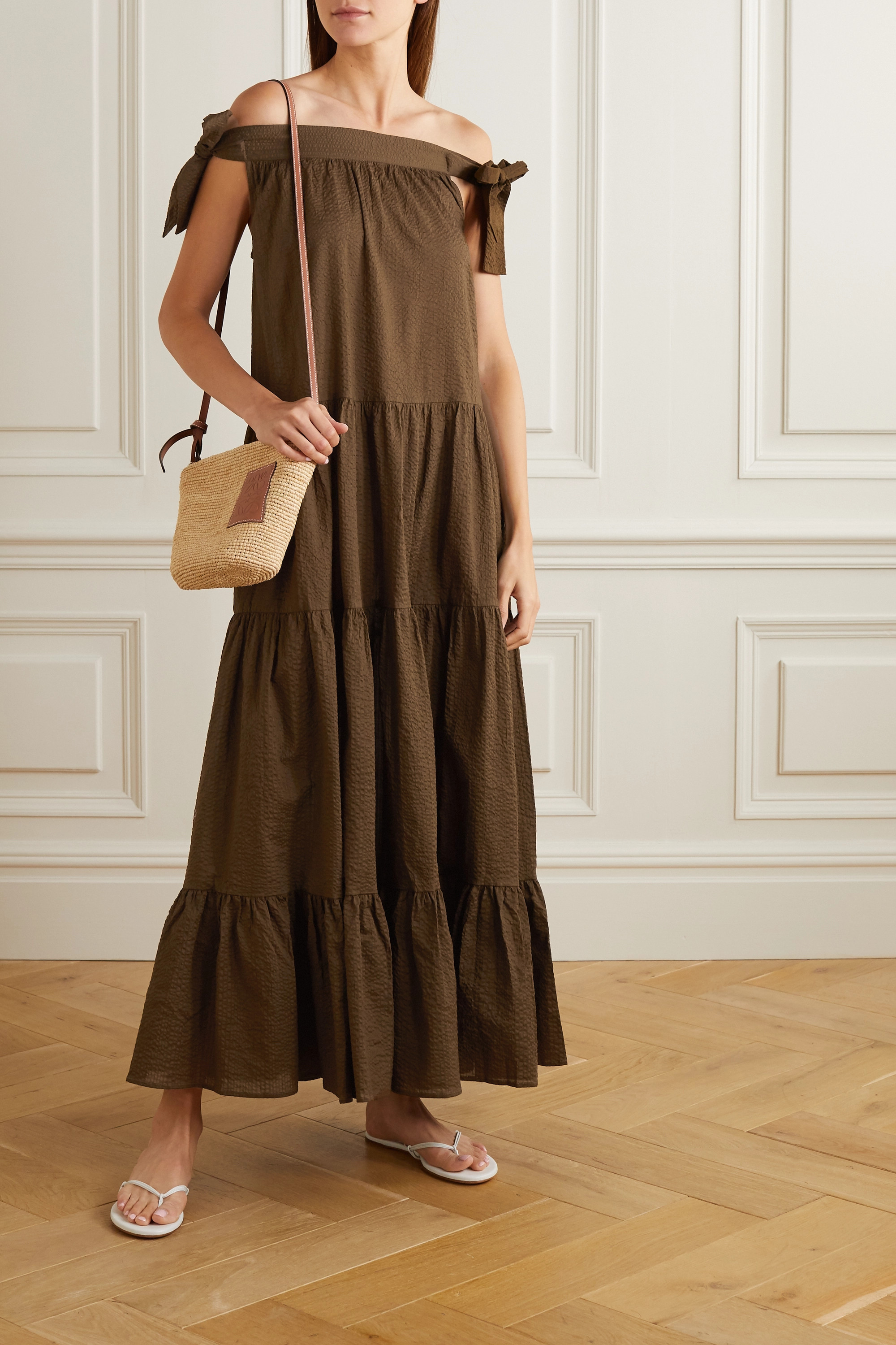 Marysia Starfish off-the-shoulder tiered textured-cotton maxi dress
